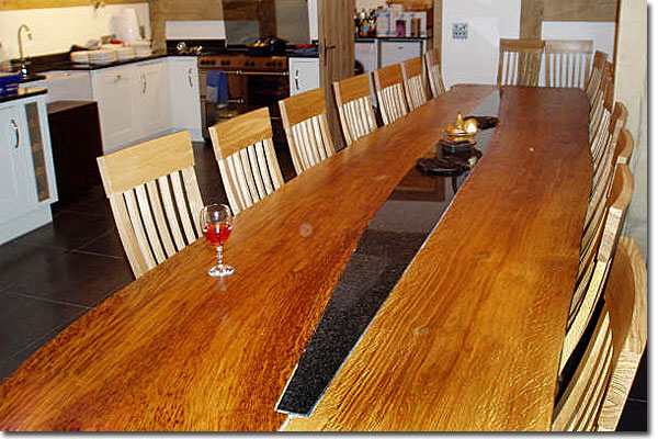 Large Inlaid Kitchen Table and Chairs